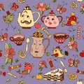 Teatime. Seamless pattern with hand drawn elements for tea party