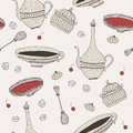 Teatime sweets pattern hand drawn seamless with teapots and teacups Royalty Free Stock Photo