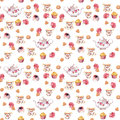 Teatime - tea pot, cup, cakes and flowers. Seamless pattern. Water colour