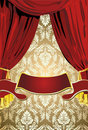 Teatrical Red  Curtains, Gold Background Stock Photo
