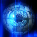 Tech eyeball digitally rendered illustration of an abstract technological Royalty Free Stock Images