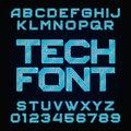 Tech Font. Vector Alphabet.