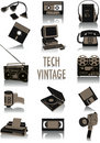 Tech-vintage silhouettes Royalty Free Stock Photo