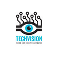 Tech vision - vector logo template concept illustration. Abstract human eye creative sign.