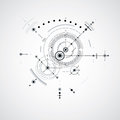 Technical blueprint, black and white vector digital background w Royalty Free Stock Photo