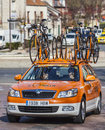 Technical car of euskaltel euskadi cycling team saint pierre lã s nemours france march the on the roadduring the first stage the Stock Image