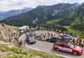 Technical car in pyrenees mountains col de pailheres france july row of cars of various procycling teams climbing the road to col Royalty Free Stock Image