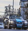 Technical car of sky procycling team nemours france march the on the roadduring the first stage the famous road bicycle race Stock Photos