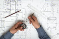 Technical drawing and architectural and tools Royalty Free Stock Image
