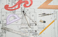 Technical drawing and architectural and tools Royalty Free Stock Photography
