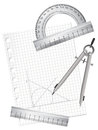 Technical drawing equipments illustration of with a blank paper sheet Stock Photos