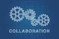 Technical drawing of gears idea of teamwork collaboration concept the and success Royalty Free Stock Photos