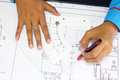 Technical drawing manual in progress Stock Images