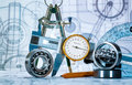 Technical drawing and tools Royalty Free Stock Photo