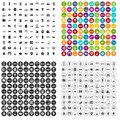 100 technical exhibition icons set vector variant