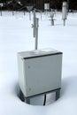 Technical metal box on snow Stock Image