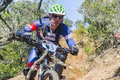 MTB biker down single track in competition - close up Royalty Free Stock Photo