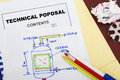 Technical proposal with engineering materials and pencil Royalty Free Stock Photography