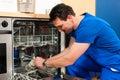 Technician repairing the dishwasher Royalty Free Stock Photo