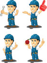 Technician or repairman customizable mascot a vector set of a male in several poses drawn in cartoon style this vector is very Stock Photography