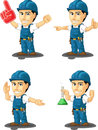 Technician or repairman customizable mascot a vector set of a male in several poses drawn in cartoon style this vector is very Royalty Free Stock Photos