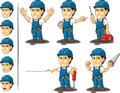 Technician or repairman mascot a vector set of a male in several poses drawn in cartoon style this vector is very good for design Royalty Free Stock Images