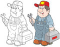Technician service with his toolbox color and black and white outline illustration on a white background Stock Images