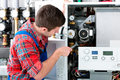 Technician servicing heating boiler the gas for hot water and Royalty Free Stock Photography