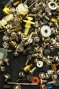 various screws, bolts, washers, nuts and other computer small fasteners Royalty Free Stock Photo
