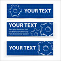 Techno blue background with gears and sample text hand drawing vector illustration Royalty Free Stock Photos
