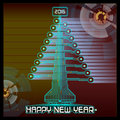 Techno Happy New Year Christmas Tree Blue Royalty Free Stock Photo