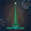 Techno Happy New Year Christmas Tree Royalty Free Stock Photo