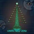 Techno Happy New Year Christmas Tree Royalty Free Stock Photo