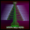 Techno Happy New Year Christmas Tree Green Royalty Free Stock Photo