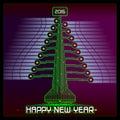Techno Happy New Year Christmas Tree Green Royalty Free Stock Photo
