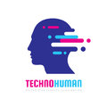 Techno human head vector logo concept illustration. Creative idea sign. Learning icon. People computer chip. Innovation technology Royalty Free Stock Photo