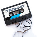Techno music dance musical genres audio tape label Royalty Free Stock Photo