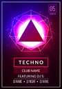 Techno music poster. Electronic club deep music. Musical event disco trance sound. Night party invitation. DJ flyer poster Royalty Free Stock Photo
