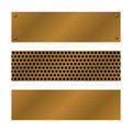 Techno vector banners. Brushed Brass, copper latticed surface template. Abstract industrial illustration for web Royalty Free Stock Photo