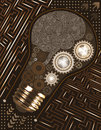 Technological background with light bulb, gears and microchip of brown, beige, and white shades. Human brain circuit board