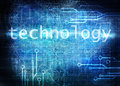 Technological blue background with sign technology Royalty Free Stock Image
