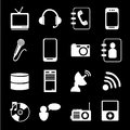 Technological icons over black background vector illustration Royalty Free Stock Photography