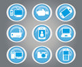 Technological icons over gray background vector illustration Royalty Free Stock Image