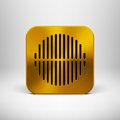 Technology app icon with gold metal texture button blank template circle perforated speaker grill pattern realistic shadow and Stock Images