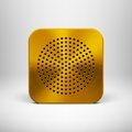 Technology app icon with gold metal texture button blank template circle perforated speaker grill pattern realistic shadow and Royalty Free Stock Image