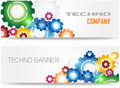 Technology Colorful Gears Banner Royalty Free Stock Photography