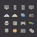 Technology and communication metro retro icon set vector illustration Stock Images