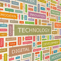 Technology concept related words in tag cloud conceptual info text graphic word collage Royalty Free Stock Photo