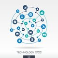 Technology connection concept. Abstract background with integrated circles and icons for digital, internet, network