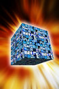 Technology cube Royalty Free Stock Images